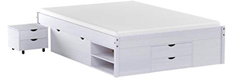 KMH®, Bett *Ina* aus massivem Pinienholz 200 x 140 cm/Mit Bettkasten, Nachttisch und Schubladen/weiß (#201123)