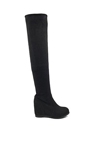 CHIC NANA . Chaussure femme cuissarde compensée en effet daim, réversible, dotée d'un bout rond.