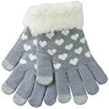 Nsstar caldi guanti invernali con polpastrelli conduttivi per iPhone, iPad, Samsung e tutti i dispositivi elettronici touchscreen, da donna o ragazza, morbidi, fatti a maglia, motivo cuore amore
