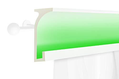 2 Meter | LED Gardinen Blende | indirekte Beleuchtung | Stuck | lichtundurchlässig | wetterbeständig | 150x60mm | KF803