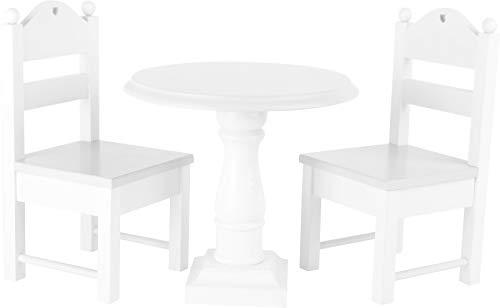 Small Foot 10744muñeca Muebles de Madera sólida, Blanco, una Mesa y Dos sillas de muñeca, con detallado Decoraciones, Ideal muñeca Accesorios