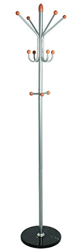 PEGANE Porte Manteaux en Tube d'acier Coloris Alu-Noir-Cerisier, Hauteur 184 cm