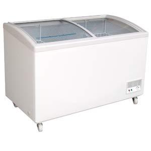 Tiefkühltruhe abschließbar mit Glasschiebedeckel, Glasdeckel und Statischer Kühlung 250 Liter