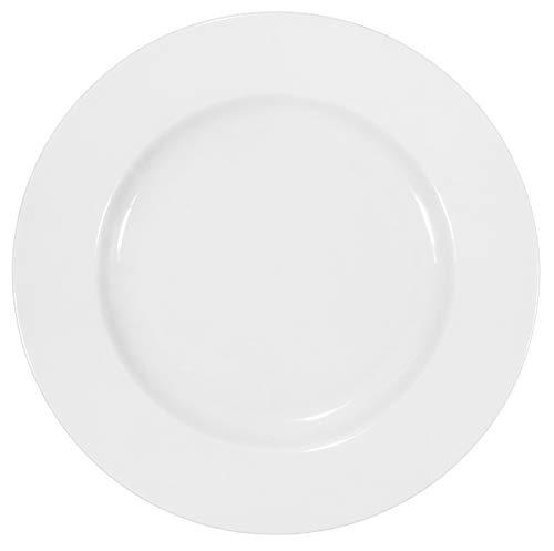 Set aus 12 Stück flachen Tellern aus echtem Porzellan Ø 240 mm weiß auch zum Bemalen bestens geeignet (Tafelgeschirr für Gastronomie und Haushalt)