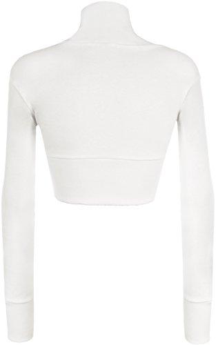 WearAll - Boléro à manches longues simple - Hauts - Femmes - Grandes tailles 44 à 54 Blanc