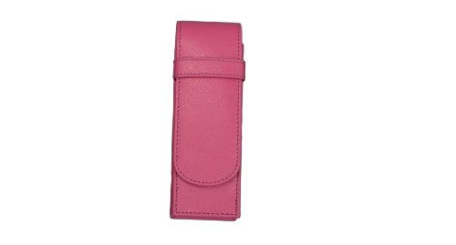 Alassio 2674 - Schreibgeräteetui aus echtem Leder, Etui rosa, Stiftetui ca. 14 x 4,5 x 2 cm, Lederetui für 2 Stifte
