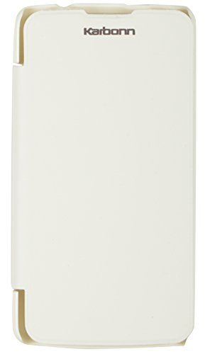 iCandy White Synthetic Leather Flip Cover For Karbonn Titanium S5 Plus  available at amazon for Rs.99