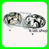 Twin Dog Bowls Raised Stand Feeder Dish In Stainless Steel by e.lab.shop