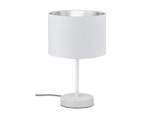 Lampe de table LED décorative 33 cm avec abat-jour en plastique Ø 20 cm Blanc & intérieur argenté - Ambiente lumineuse unique avec filament LED au design élégant