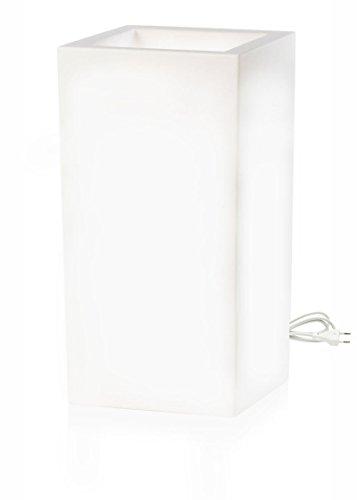 Pot de fleur lumineux - Bac à Fleurs Schio Cubo Alto Lumineux 40 x 40 x 80 cm Blanc