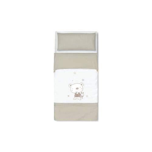 pirulos 34013010 - Sac couette Motif ours Star, coton, 72 x 142 cm, couleur blanc et lin