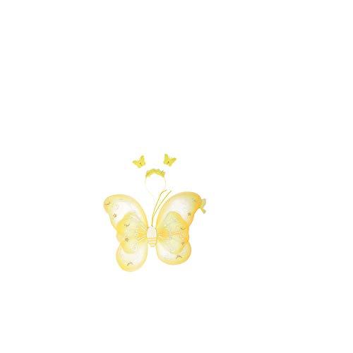 Deanyi Mädchen Schmetterling Craze Feenflügel für Kostüm Kinder Pretend Spielen Flügel Halloween Zubehör-Party Favor (Gelb) (Für Alten Jahre 19 Halloween-kostüme Den)