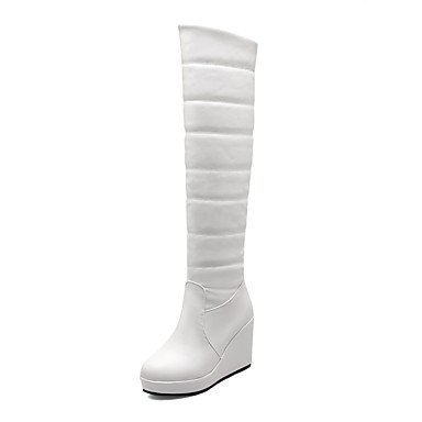 RTRY Scarpe Donna Similpelle Inverno Pelliccia Sintetica Snow Boots Stivali Punta Tonda Sopra Il Ginocchio Stivali Per Abbigliamento Casual Rosso Bianco Nero US8 / EU39 / UK6 / CN39