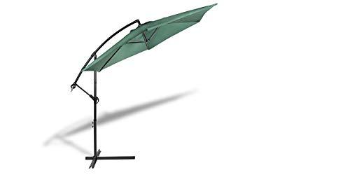 909 OUTDOOR Ampelschirm für Terrasse und Garten Ø 300 cm, Verstellbarer Sonnenschirm mit Ständer und Kurbelvorrichtung, Gartenschirm aus Polyester & Stahl (Grün)
