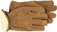 Boss Gef-ttert Split-Leder-Handschuh Brown Xlarge Satz von 12 - 4176J
