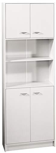 #FACKELMANN Doppel-Hochschrank STANDARD/mit Kunststoffgriffen/Maße (B x H x T): ca. 65 x 182 x 30 cm/Schrank für das Bad/Möbel für das WC oder Badezimmer/Korpus: Weiß/Front: Weiß#