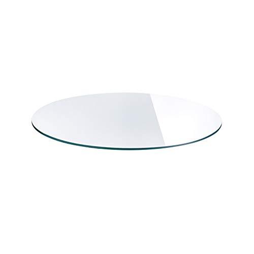 Set de table en verre, 4 Assiette ronde en verre de sécurité, plateau en verre ronde diamètre 390 mm