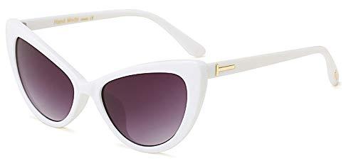 Stillar - Cat Eye Sonnenbrillen für Frauen Retro Vintage Sonnenbrillen Weibliche Shades Brillen Zubehör Goggle oculos Feminino [White Frame]
