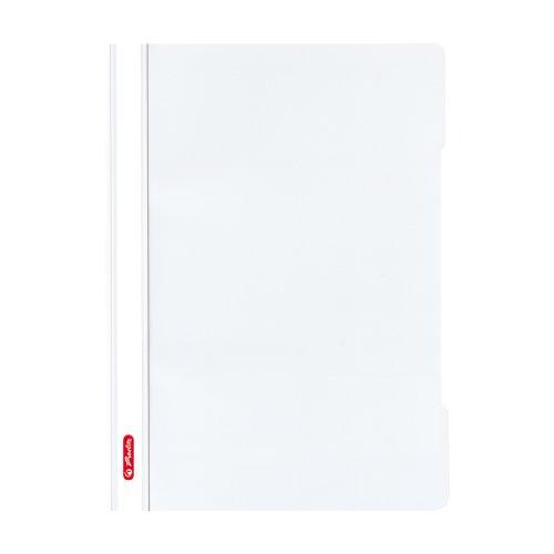 Herlitz 11317104 Schnellhefter A4 - Quality, Polypropylen-Folie, 10-er Packung, Glasklar mit Beschriftungsstreifen, weiß