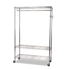 - Wire Shelving Garment Rack, Coat Rack, Stand Alone Rack w/Casters, Silver - by 6COU