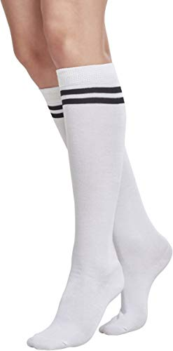 Urban Classics TB770 Damen Matt Fein Kniestrümpfe Ladies College Socks Mehrfarbig (Wht/Blk 224), 37/38 (Herstellergröße: 36-39) (Weiße Cheerleader Kostüm)