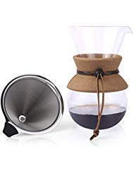Apace Living Pour Over Kaffeebereiter - 2019 Modell - Eleganter Kaffee Handfilter mit Glaskaraffe & Permanentfilter aus Edelstahl