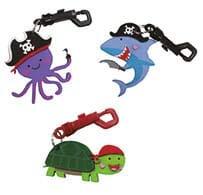 MegaCrea DIY Kit Porte-clés Pirate : Porte-clefs x 3, Formes Mousse x 18 pcs