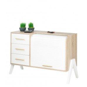 SIMMOB-Mueble de entrada vintage cortina blanco 3cajones blancos