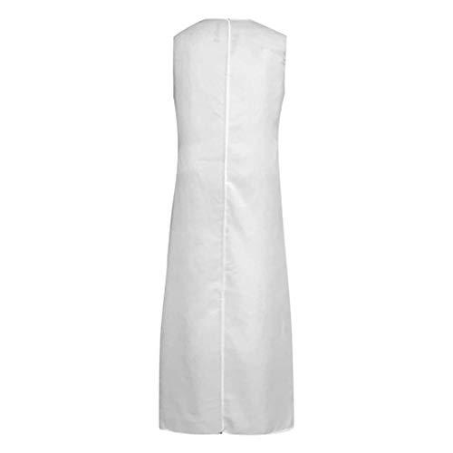 U-ausschnitt Cap-sleeve Top (QIMANZI DamenBeiläufig Ärmellos V-Ausschnitt Blumendruck Maxi Tank Langes Kleid(A Gelb,S))