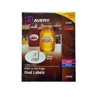 Avery 22964 Etiketten, oval, glänzend, 5 x 9 cm, Weiß - Avery-etiketten-oval