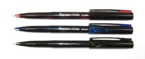 Pentel JM20 Disposable Fountain Pen 0.3-0.4mm Line - Pack of 3 Assorted (Black, Blue & Red ink)