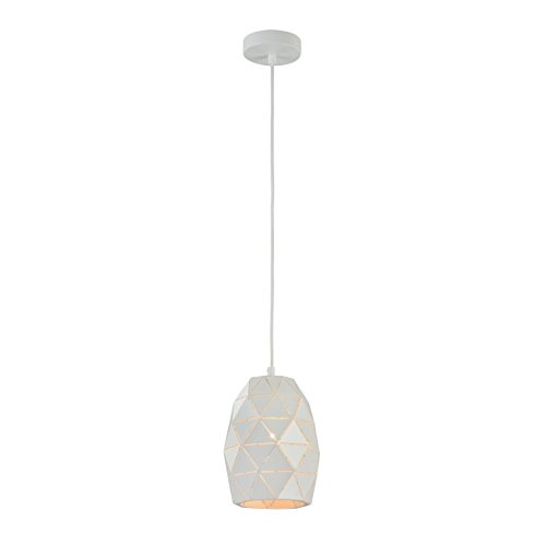 Moderne futuristische Pendelleuchte, Metall-Schirm in weißer Farbe, höhenverstellbar, 1-flammig, exkl. E27 1 x 40W, 220-240 V - Pl Pendelleuchten