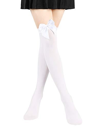 SATINIOR Satin Bogen Strümpfe Frauen Opaque Strümpfe über Knie Lange Strümpfe (Weiß)