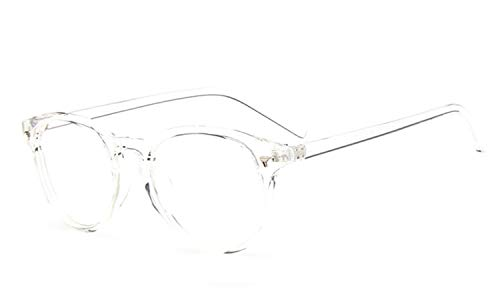 Metall Brillengestell Klare Linsengläser Retro Runde Klassische Mode Vogue Dünne Anti-Strahlung Plain Brille Mit Schlankem Metall Runde Brillengestell (Color : Clear, Size : M)