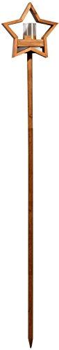 Luxus-Vogelhaus 85075e Stern Design, Ständer aus geöltem Eichenholz, Holz mit Silo, 30 x 14 x 152 cm - 2