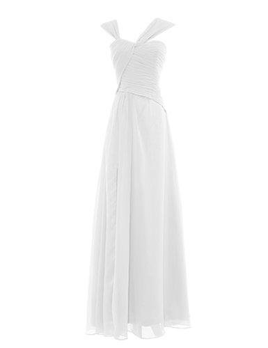 Dresstells Damen Kleider Bodenlang Chiffon Ballkleider Brautjungfernkleider Cocktailkleider Abendkleider Elfenbein