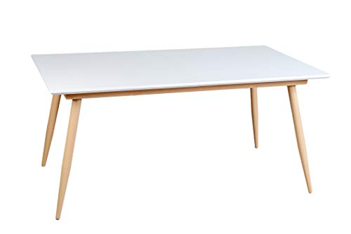 Enrico coveri contemporary tavolo moderno allungabile in legno bianco, ideale per cucina, sala da pranzo e salone (bianco quadrato)