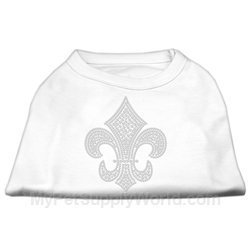 Mirage Pet Products Silber Fleur de lis Strass Shirts (Strass-tee)