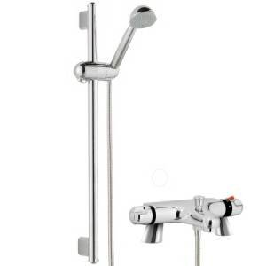 Thermostatic Bath Shower Mixer With Modern Bathroom Slider Riser Rail Kit Modern styling with chrome finish