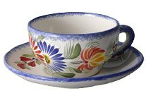 Quimper Fleuri Royal Teetasse und Untertasse von HB Henriot Quimper Hb Henriot Quimper