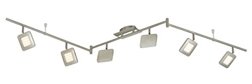 Satin-matt-nickel (LED Deckenleuchte, Deckenstrahler, Spot, 6 x LED Platine, 4,5 Watt, Strahler dreh- und schwenkbar, matt-nickel)