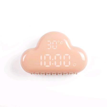 HHCC Reloj Despertador Nube diseño Inteligente Control de Voz función de la Temperatura del Tiempo de la exhibición Regalo y decoración de la habitación,Pink