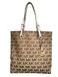 Michael Kors Jet Set Beige Black North South Signature Jacquard Tote