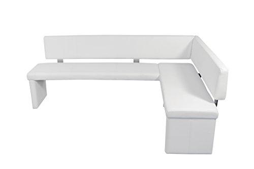 CAVADORE Eckbank Links Charisse India Weiß/Gepolsterte Kunstleder-Eckbank mit Rückenlehne in Weiß/Innenmaß: 160 x 92 cm / 214 x 149 x 54 x 83 cm (B x B x T x H)