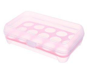 Fdit Eierbecher Egg Container 15Eier Tablett Halter mit Deckel für Kühlschrank BPA-freiem Kunststoff rose (Carrier Von Sperren)