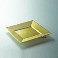 12 assiettes mariage jetables carrées plastique couleur or 24cm - Adiserve -