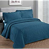 Linen Plus Bettwäsche-Set für King-Size/California King-Size-Betten, 3-teilig, einfarbig, Blau - California King-size-bett Bettdecken
