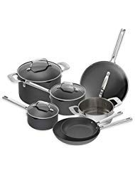 Emeril Essential Hard Anodized Dishwasher Safe Nonstick, 11 Piece Pots and Pans Cookware Set, Black