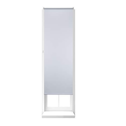 Relaxdays Thermo Verdunklungsrollo, Hitzeschutz, Seitenzugrollo, Klemmfix, ohne Bohren, Fensterrollo 70 x 210 cm, weiß
