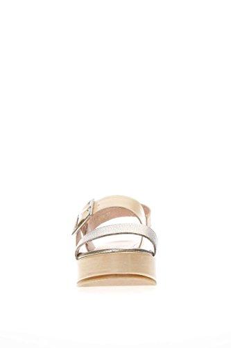 Wonders Femme Sandale fonds calage C 3704 santal une platine bande creuse calage Multicolore - Beige/Oro